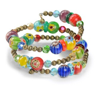 Sweet Romance Retro Millefiori Glass Rainbow Bead Wrap Bracelet