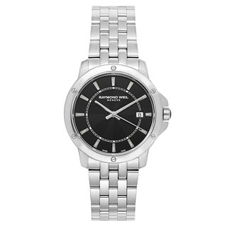 Raymond Weil Men's 'Tango' Stainless Steel Black Dial Swiss Quartz Watch