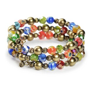 Sweet Romance Millefiori Glass and Bronze Beaded Wrap Bracelet