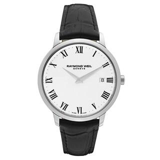 Raymond Weil Men's 'Toccata' Leather White Dial Swiss Quartz Watch