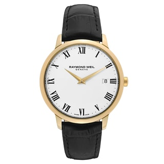 Raymond Weil Men's 'Toccata' Leather White Dial Swiss Quartz Watch