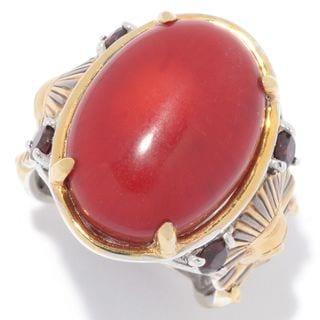 Michael Valitutti Palladium Silver Cleopatra Red Bamboo Coral & Garnet Pharaoh Ring