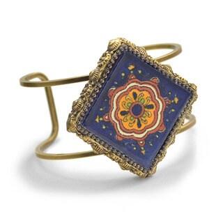Sweet Romance Talavera Tile Bohemian Wire Cuff Bracelet