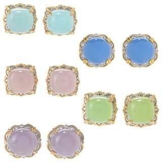 Michael Valitutti Palladium Silver Pastel Chalcedony Scrollwork Halo Stud Earrings
