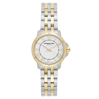 Raymond Weil Women's 'Tango' Two Tone White Dial Swiss Quartz Watch|https://ak1.ostkcdn.com/images/products/16004355/P22397585.jpg?impolicy=medium