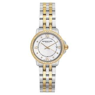 Raymond Weil Women's 'Tango' Two Tone White Mother-of-Pearl Dial Swiss Quartz Watch|https://ak1.ostkcdn.com/images/products/16004360/P22397586.jpg?impolicy=medium