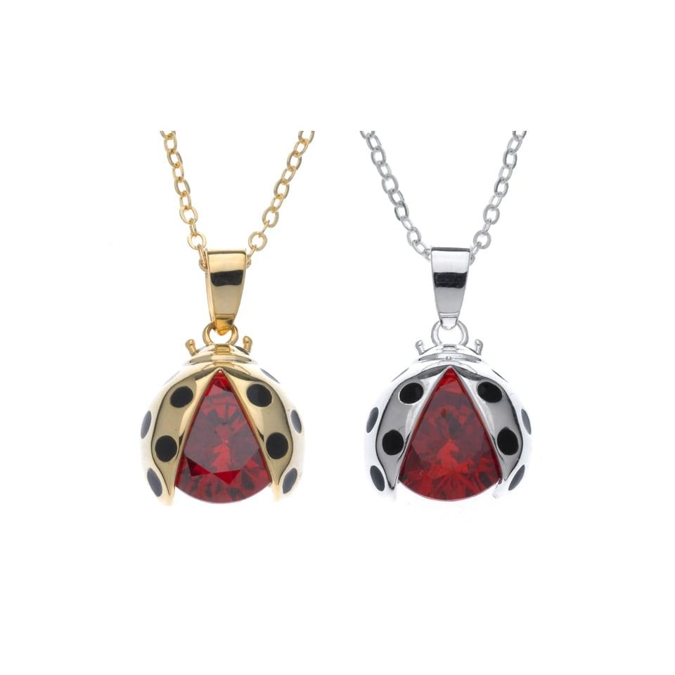 Lucky Ladybug Necklace (Gold Overlay), Women's, Size: 18 ...