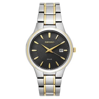 Seiko Men's SNE404 'Core' Two-tone Dark Grey Dial Solar-powered Quartz Watch