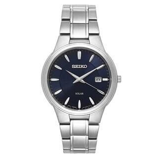 Seiko Men's SNE403 'Core' Stainless Steel Navy Dial Solar-Powered Quartz Watch