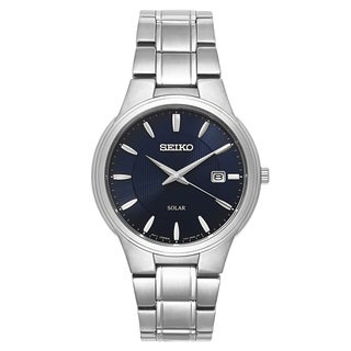 Seiko Men's SNE403 'Core' Stainless Steel Navy Dial Solar-Powered Quartz Watch