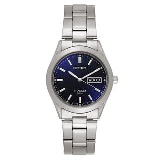 Seiko Men's 'Titanium' Titanium Navy Dial Japanese Quartz Watch