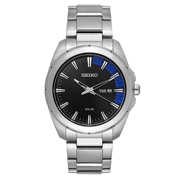 Seiko Men's Recraft Series Black Stainless Steel Solar Quartz Watch