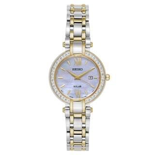 Seiko Women's SUT198 'Tressia' Two Tone White Mother-of-Pearl Dial Solar Quartz Watch