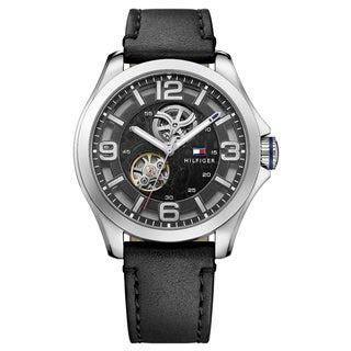 Tommy Hilfiger Men's 'Bruce' Leather Black and See Through Dial Mechanical Automatic (Self-Winding) Watch