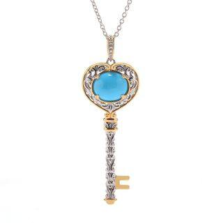 Michael Valitutti Palladium Silver Sleeping Beauty Turquoise Key Pendant|https://ak1.ostkcdn.com/images/products/16004447/P22397611.jpg?impolicy=medium