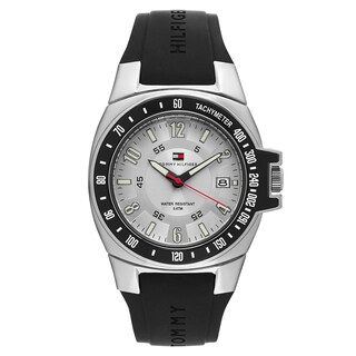 Tommy Hilfiger Men's 1790485 'River' Rubber Silver Dial Japanese Quartz Watch