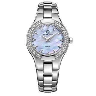 "Granton Women's ""Presence"" Quartz Diamond Markers Silver-Tone with White Dial Watch"