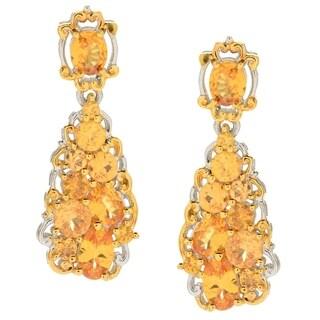 Michael Valitutti Palladium Silver Multi Shape Spessartite Cluster Earrings