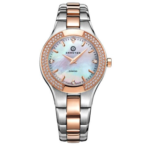 Granton 'Presence' Women's Mother of Pearl and Diamond Accented Stainless Steel Watch 32mm