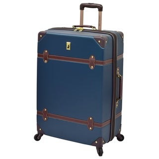 London Fog Retro Hardside Collection Blue/Black 28-inch Expandable Spinner Upright Suitcase