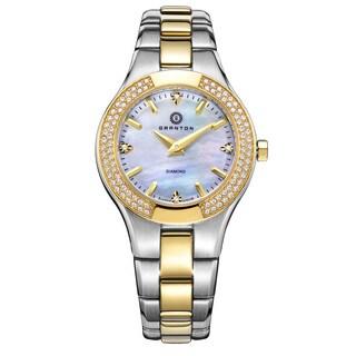 "Granton Women's ""Presence"" Quartz Diamond Markers Silver and Gold-Tone with White Dial Watch"