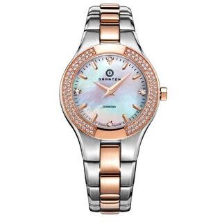 Granton Women's 'Presence' Quartz Diamond Markers Silver and Rose-tone with White Dial Watch