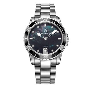 Granton Women's 'Influence' Diamond Swiss Quartz Silvertone with Black Dial Watch