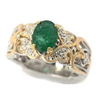 Michael Valitutti Palladium Silver Oval Zambian Emerald & White Sapphire Scrollwork Ring