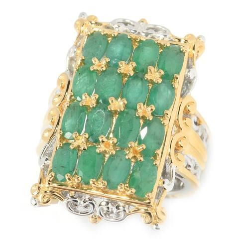 Michael Valitutti Palladium Silver Zambian Emerald 16-Stone Rectangle Ring