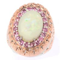 Michael Valitutti Palladium Silver Ethiopian Opal & Pink Tourmaline Halo Ring