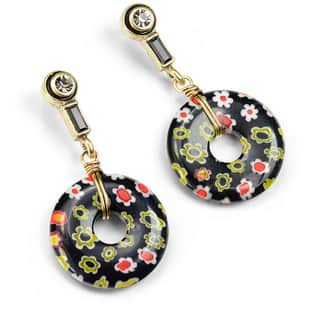 Sweet Romance Black Millefiori Glass Deco Earrings E1379|https://ak1.ostkcdn.com/images/products/16005042/P22398092.jpg?impolicy=medium