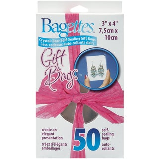 "Bagettes Self-Sealing Gift Bags 50/Pkg-3""X4"" Clear"