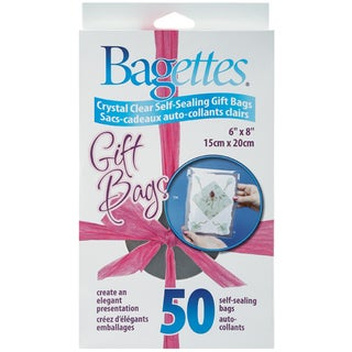 """Bagettes Self-Sealing Gift Bags 50/Pkg-6""""X8""""  Clear"""