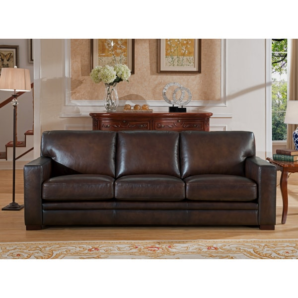 Shop Hydeline by Amax Chatsworth Top Grain Leather Brown Sofa - Free ...