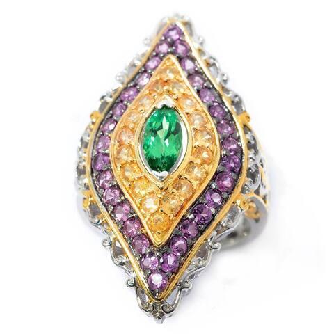 Michael Valitutti Palladium Silver Tsavorite, Spessartite & Purple Garnet Elongated Ring