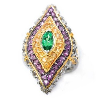 Michael Valitutti Palladium Silver Tsavorite, Spessartite & Purple Garnet Elongated Ring
