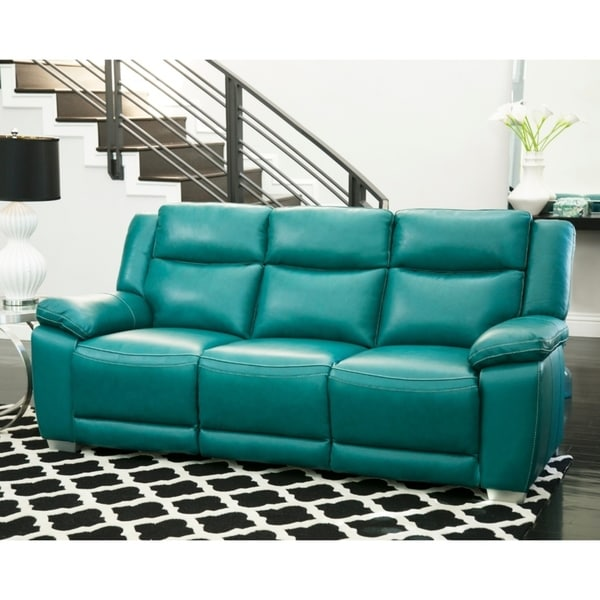Shop Yellow Genuine Leather Sofa Set: Shop Abbyson Leyla Turquoise Top Grain Leather Push Back
