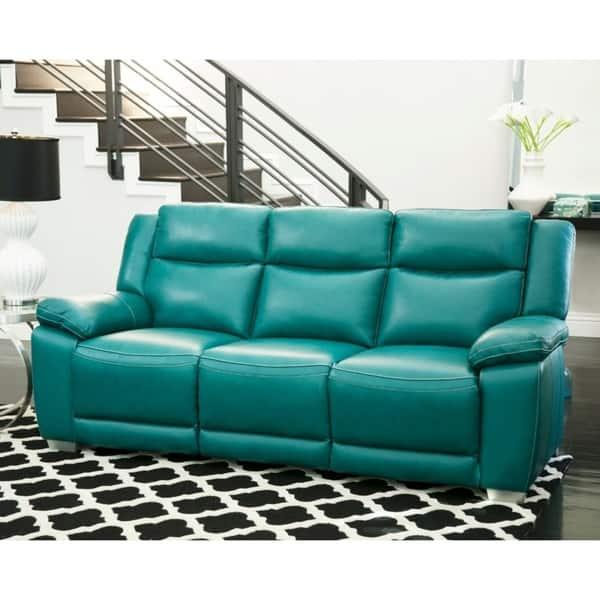 Tremendous Shop Abbyson Leyla Turquoise Top Grain Leather Push Back Theyellowbook Wood Chair Design Ideas Theyellowbookinfo