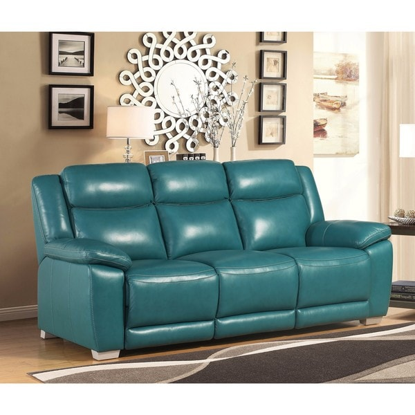 Abbyson Leyla Turquoise Top Grain Leather Reclining Sofa
