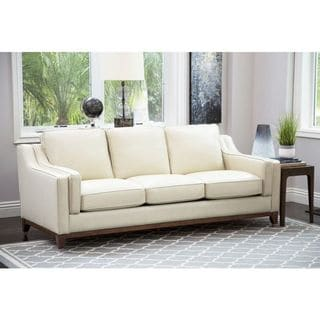 Abbyson Allegra Cream Top-grain Leather Sofa