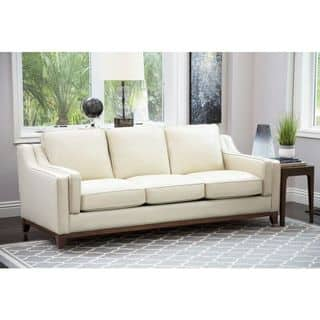 Abbyson Allegra Cream Top Grain Leather Sofa