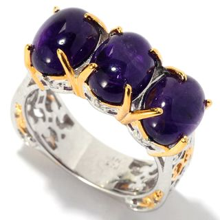 Michael Valitutti Palladium Silver African Amethyst Three-Stone Ring