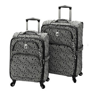London Fog Greennwich Collection Black Paisley 2-piece Expandable Softside Spinner Luggage Set