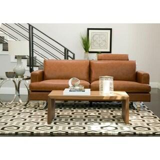 Abbyson Edison Mid Century Camel Leather Sofa