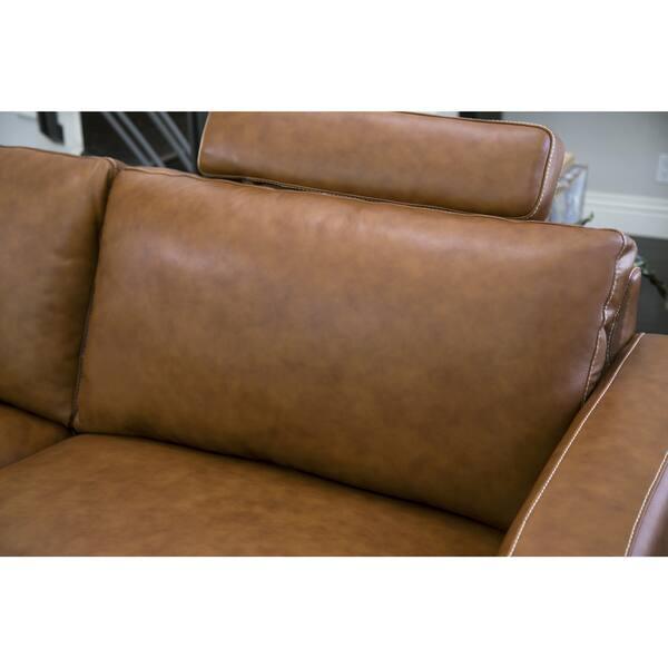 Surprising Shop Abbyson Edison Mid Century Camel Leather Loveseat Creativecarmelina Interior Chair Design Creativecarmelinacom
