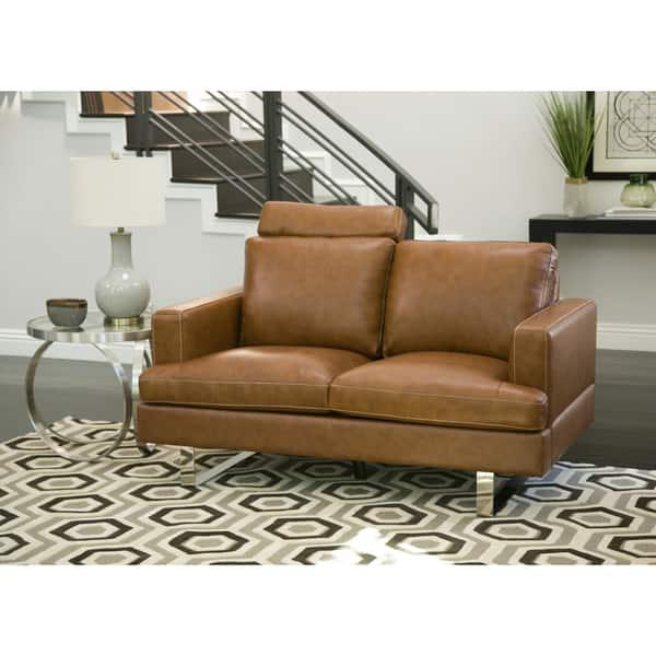 Groovy Shop Abbyson Edison Mid Century Camel Leather Loveseat Creativecarmelina Interior Chair Design Creativecarmelinacom