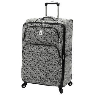 London Fog Greenwich Collection Black 24-inch Expandable Spinner Upright Suitcase
