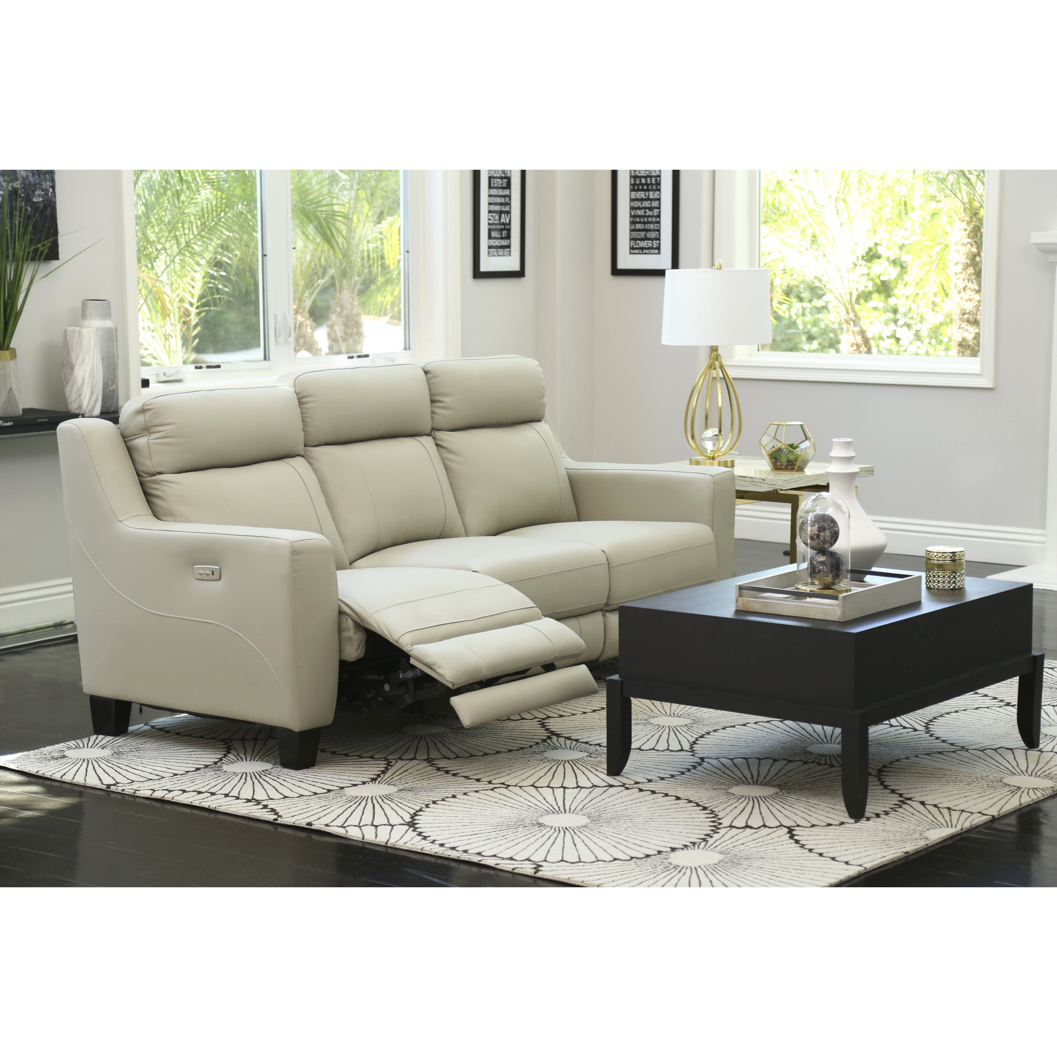 Abbyson Stanford Grey Leather Power Reclining Sofa