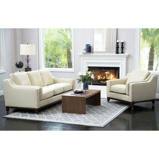 Abbyson Allegra Cream Top-grain Leather 2-piece Seating Set