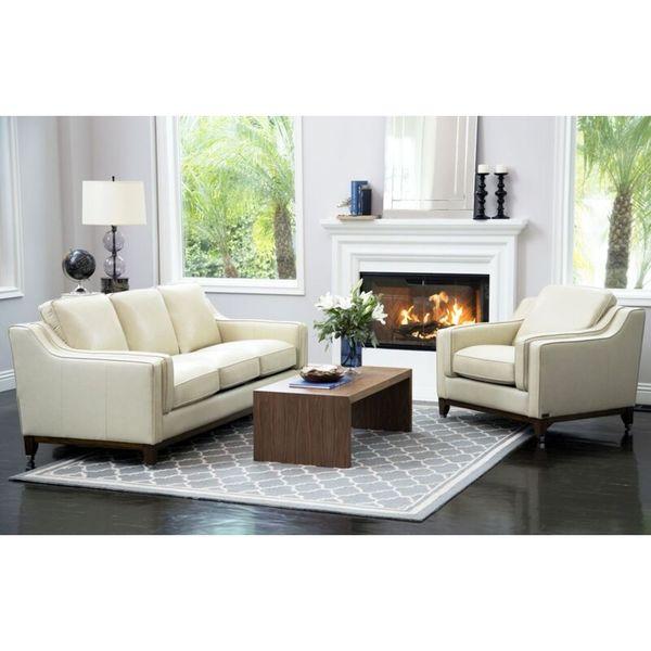 Abbyson Allegra Cream Top Grain Leather 2 Piece Seating Set